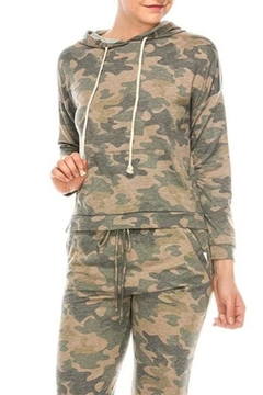 Color Thread Camo Drawstring Hoodie - Product List Image