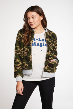 Shoptiques Product: Camo Faux Fur Bomber Jacket