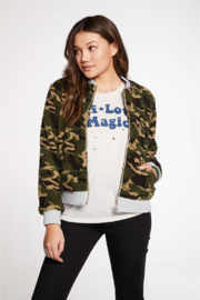 Chaser Camo Faux Fur Bomber Jacket - Product Mini Image