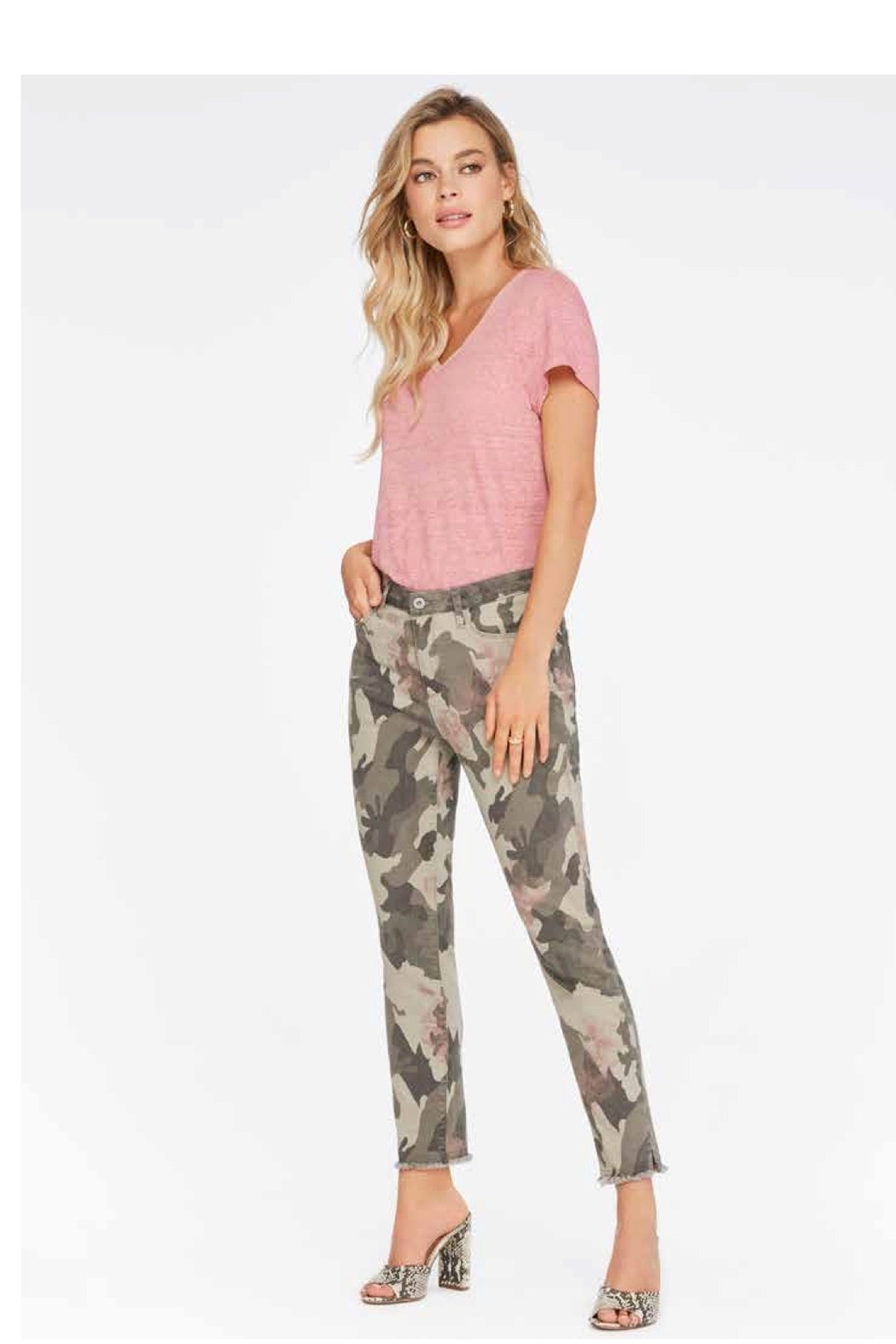 Charlie B Camo Floral Pant - Front Cropped Image
