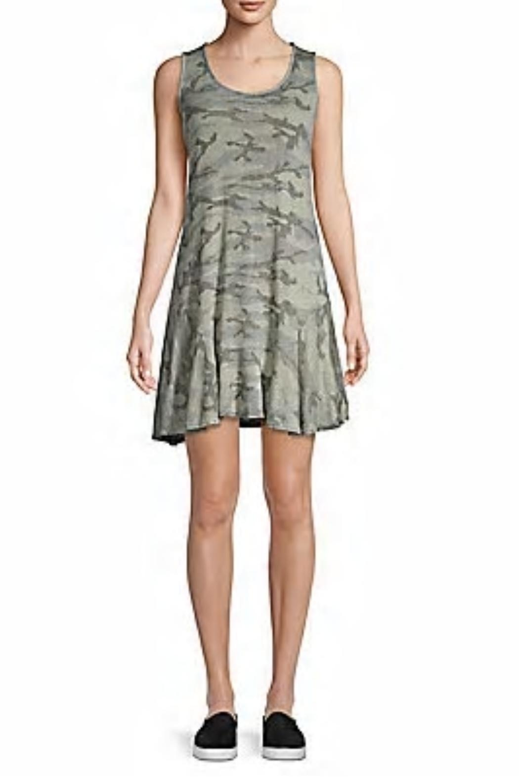 Red Haute Camo Flutter-Hem Dress - Front Cropped Image