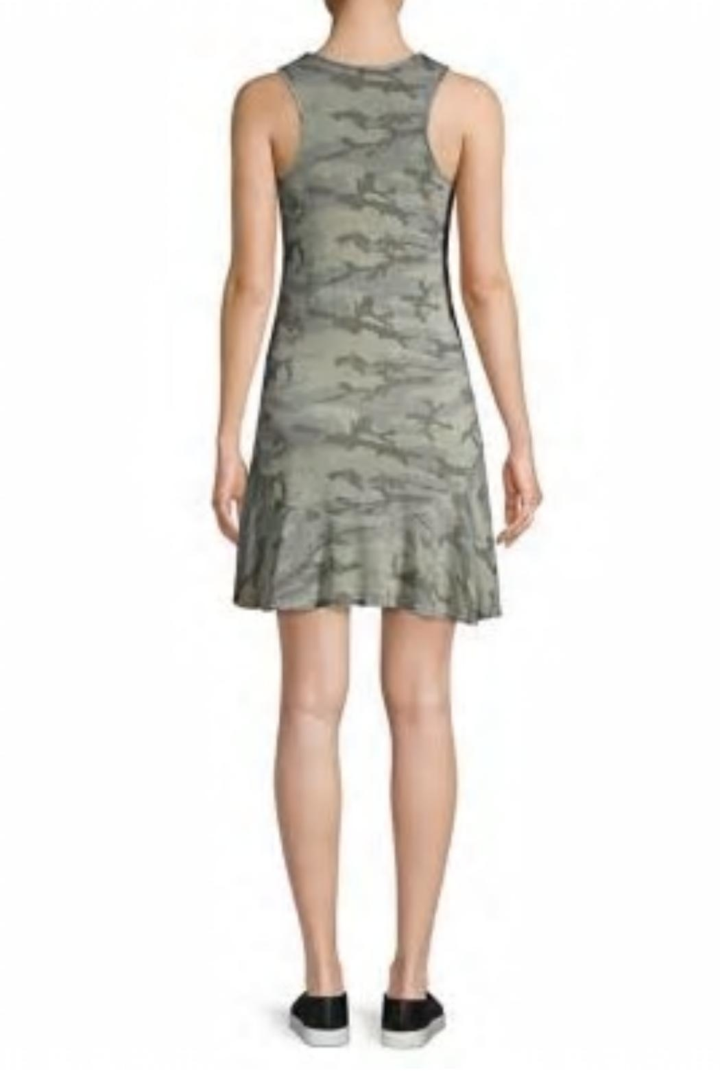 Red Haute Camo Flutter-Hem Dress - Side Cropped Image