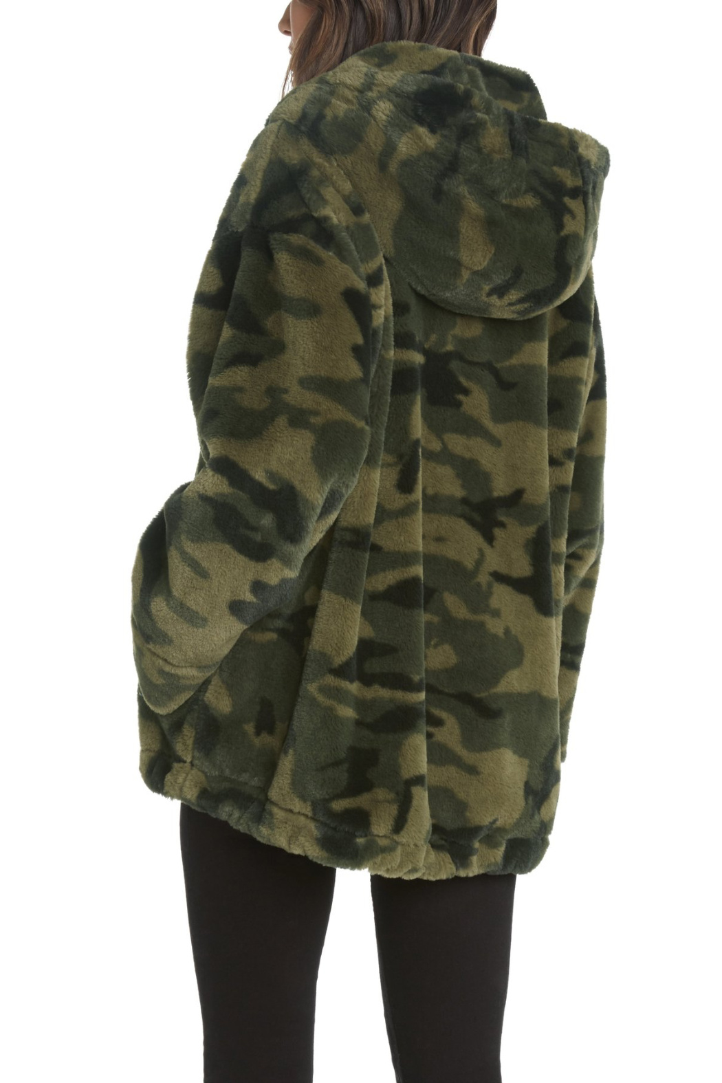Willow & Clay Camo Fur Zip front Hooded Jacket - Front Full Image