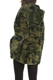 Willow & Clay Camo Fur Zip front Hooded Jacket - Front full body