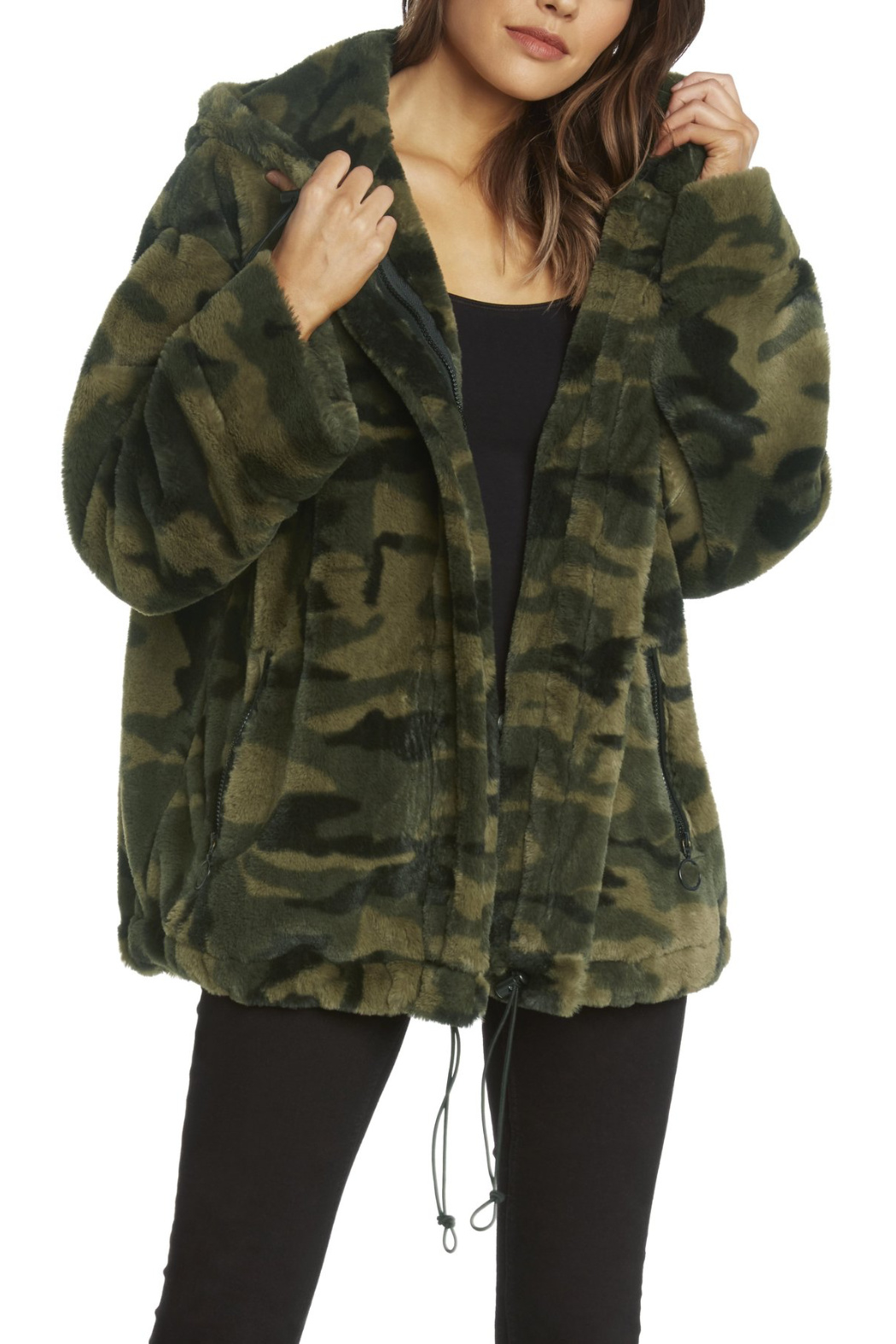 Willow & Clay Camo Fur Zip front Hooded Jacket - Main Image