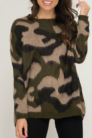 She & Sky  Camo Fuzzy Pullover Sweater - Front cropped