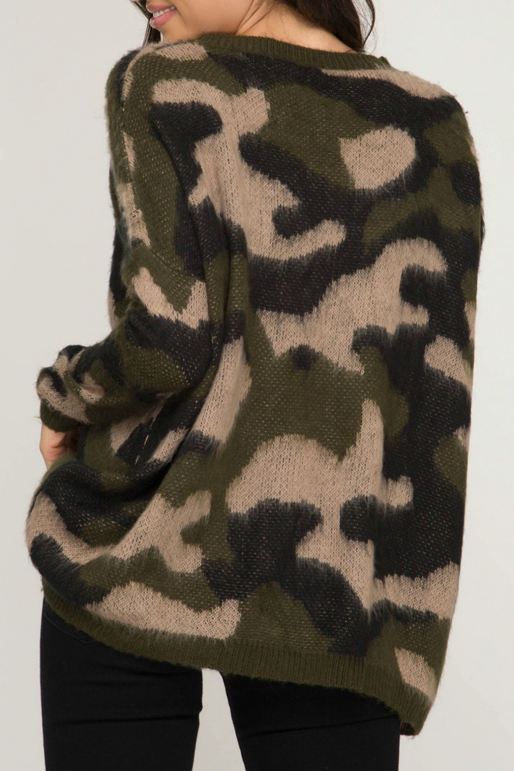 She & Sky  Camo Fuzzy Pullover Sweater - Front Full Image