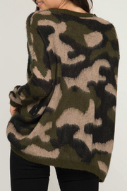 She & Sky  Camo Fuzzy Pullover Sweater - Front full body