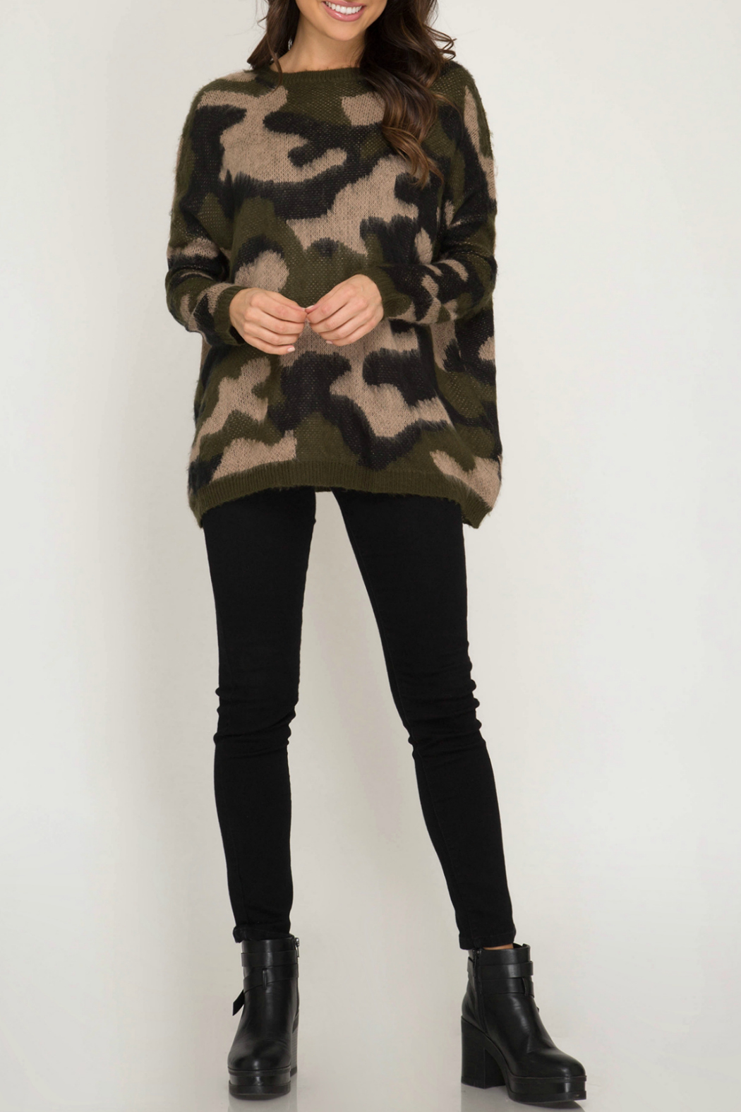 She & Sky  Camo Fuzzy Pullover Sweater - Side Cropped Image
