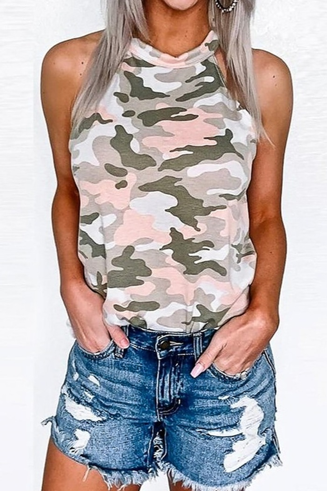 Mazik Camo Halter Neck Top - Front Cropped Image
