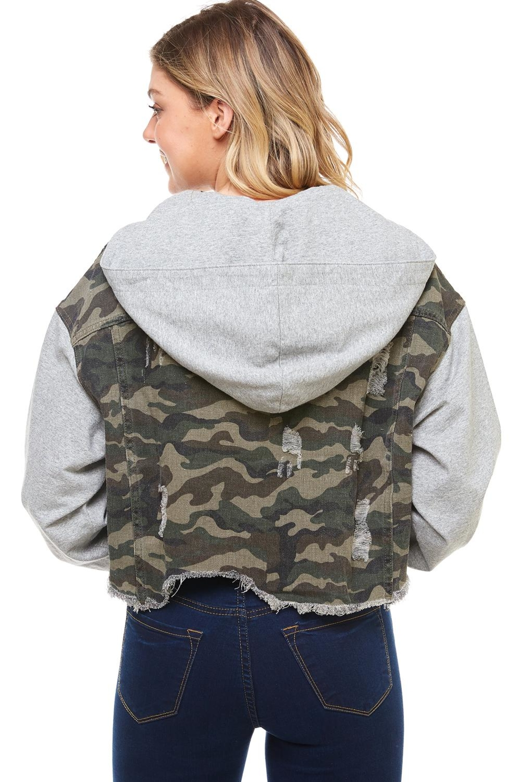 Dance & Marvel Camo Hoodie Jacket - Side Cropped Image