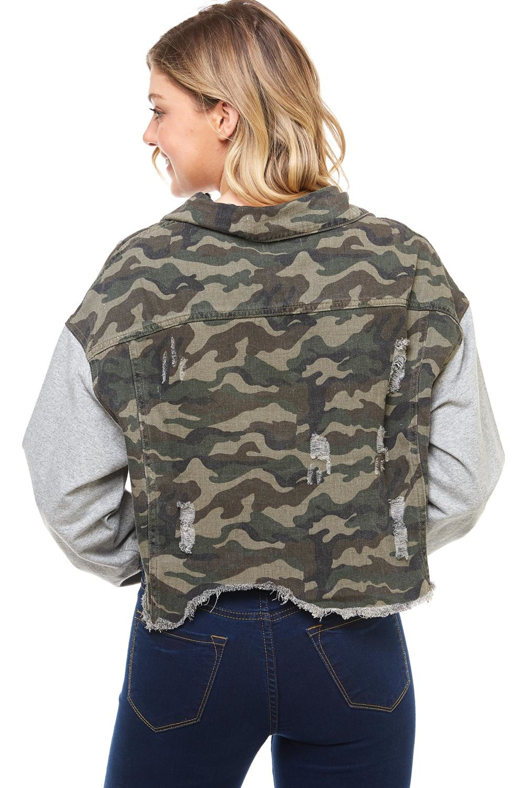 Dance & Marvel Camo Hoodie Jacket - Back Cropped Image