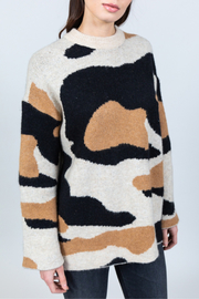 Allison Collection Camo Jacquard Sweater - Front cropped