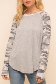 Hem and Thread Camo Jersey Top - Product Mini Image