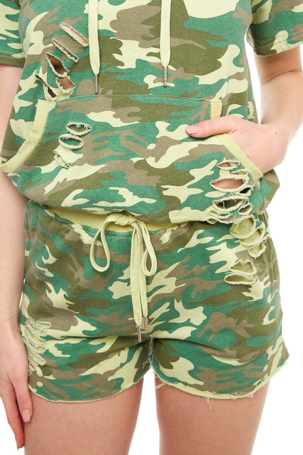 Dance & Marvel Camo Jogger Shorts - Front Cropped Image