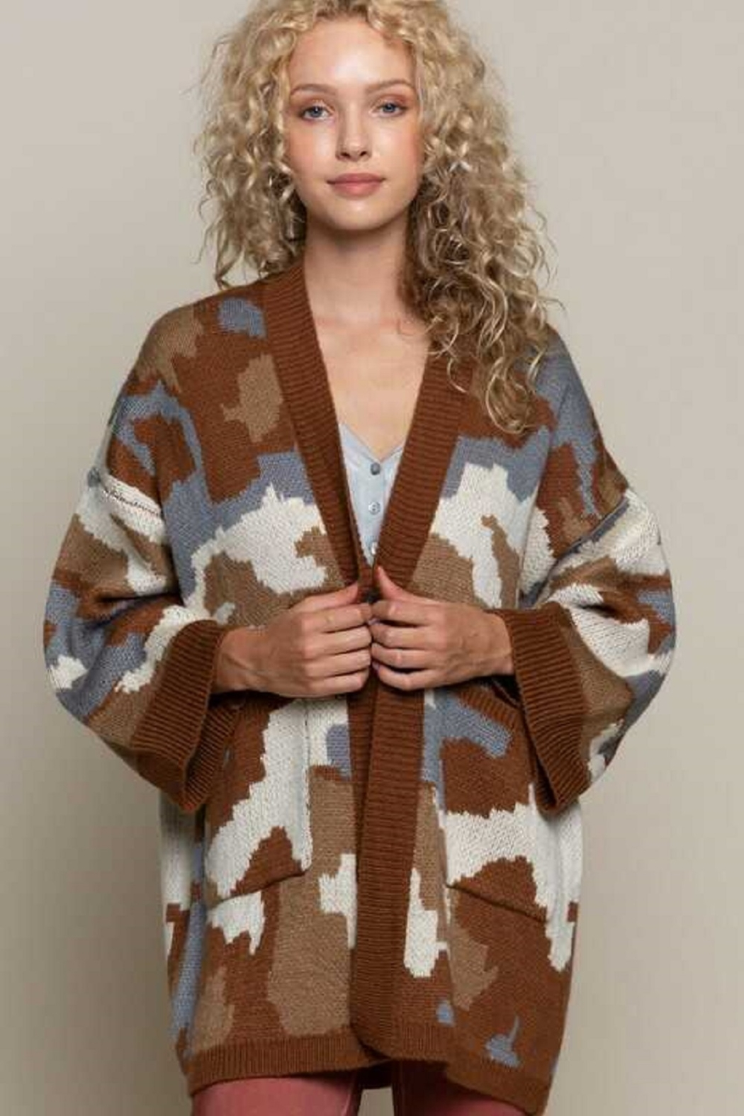 POL  Camo  Knit Cardigan - Front Full Image