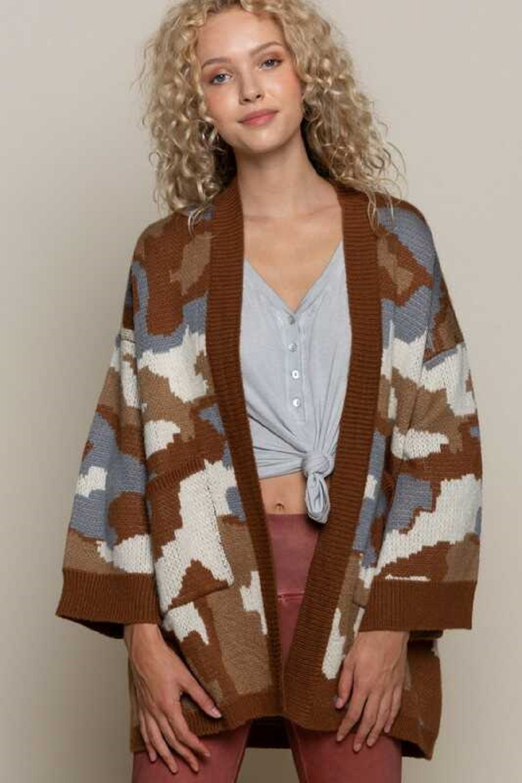 POL  Camo  Knit Cardigan - Front Cropped Image