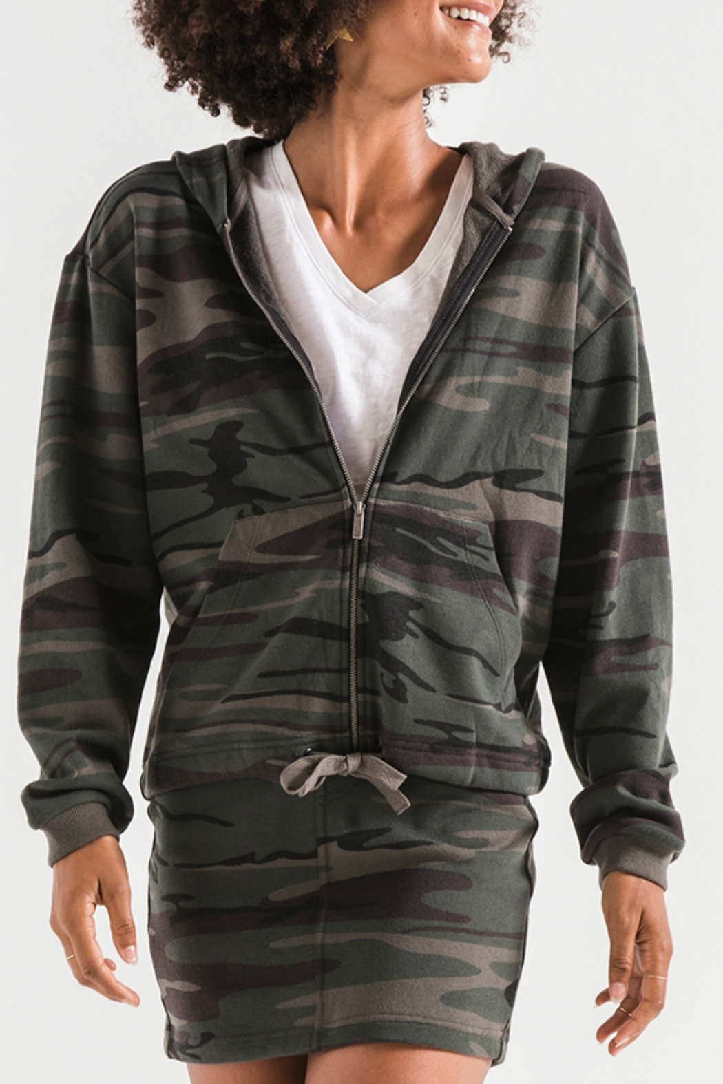 z supply Camo Knit Hooded Jacket - Front Cropped Image