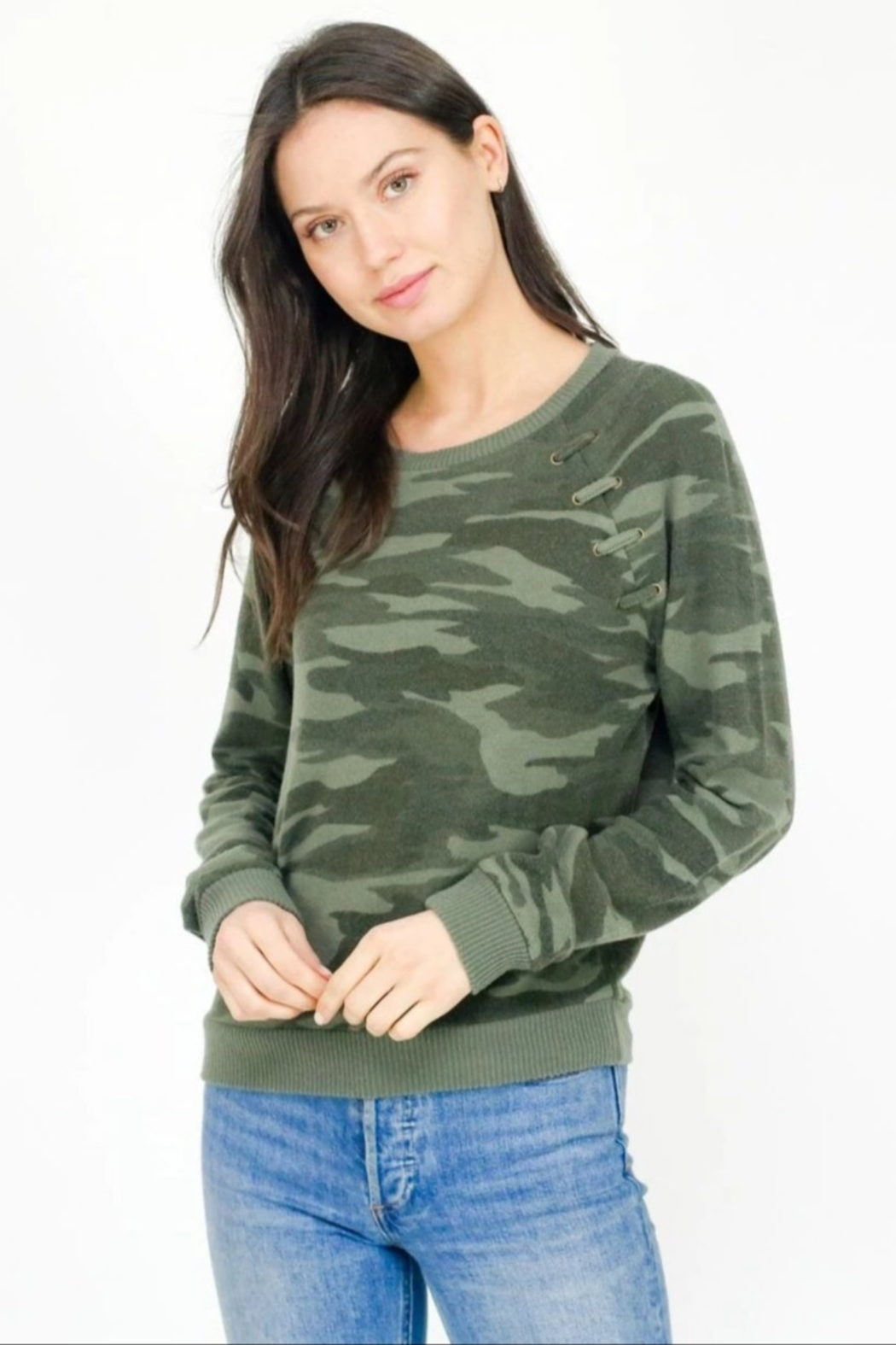 Six Fifty Camo Lace up Hacci Pullover - Front Cropped Image