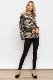 Hem & Thread Camo Lace-Up Sleeve Pullover - Back cropped