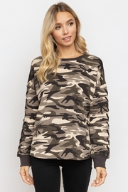Hem & Thread Camo Lace-Up Sleeve Pullover - Product Mini Image
