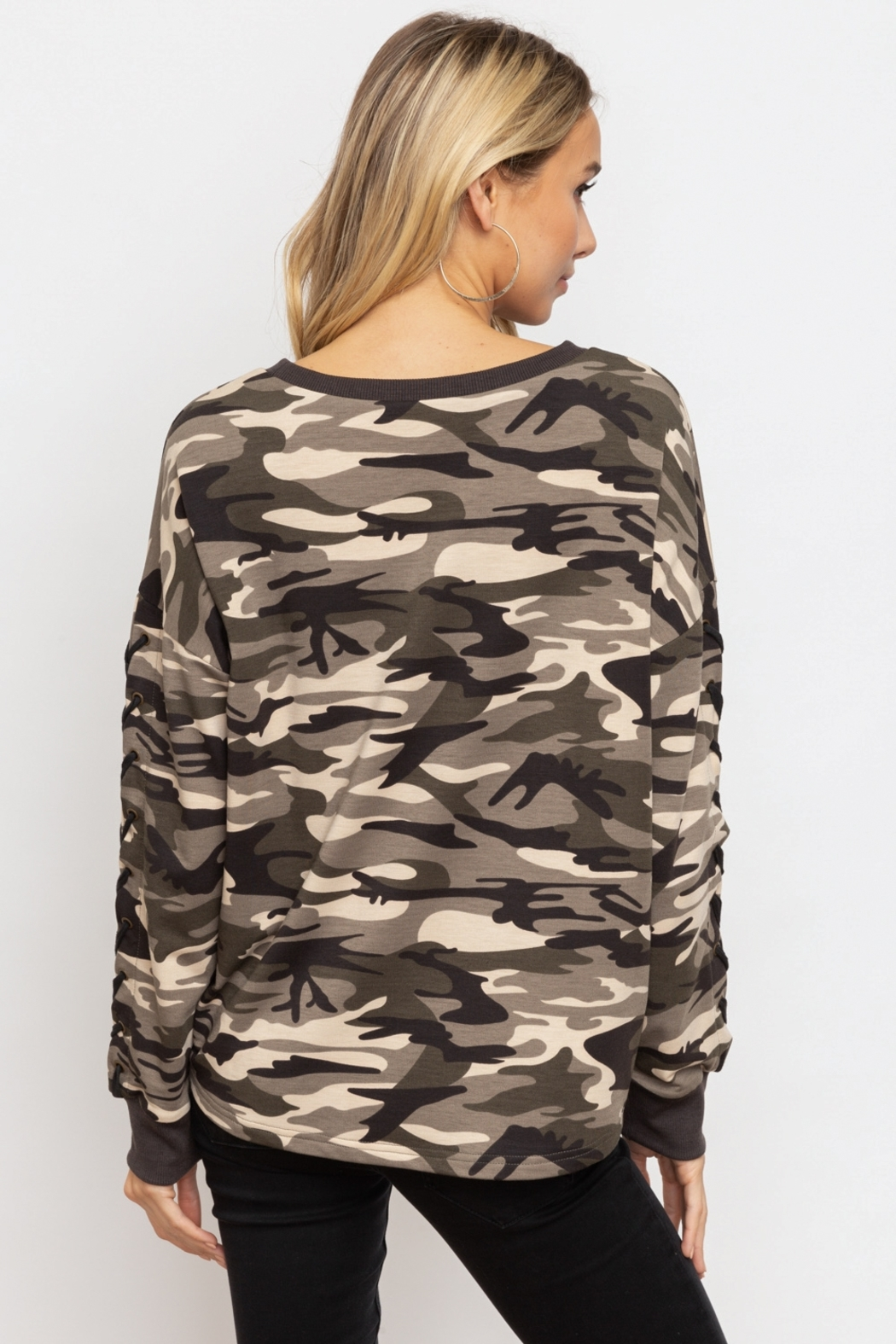 Hem & Thread Camo Lace-Up Sleeve Pullover - Side Cropped Image