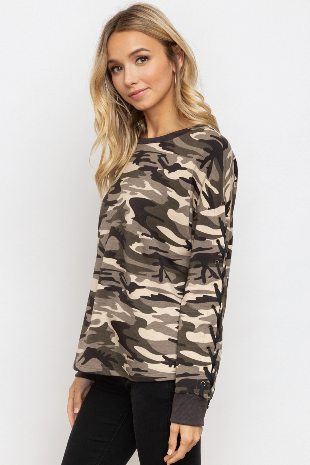 Hem & Thread Camo Lace-Up Sleeve Pullover - Front Full Image