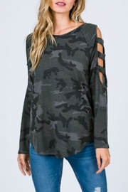 7th Ray Camo Ladder-Sleeve Top - Product Mini Image
