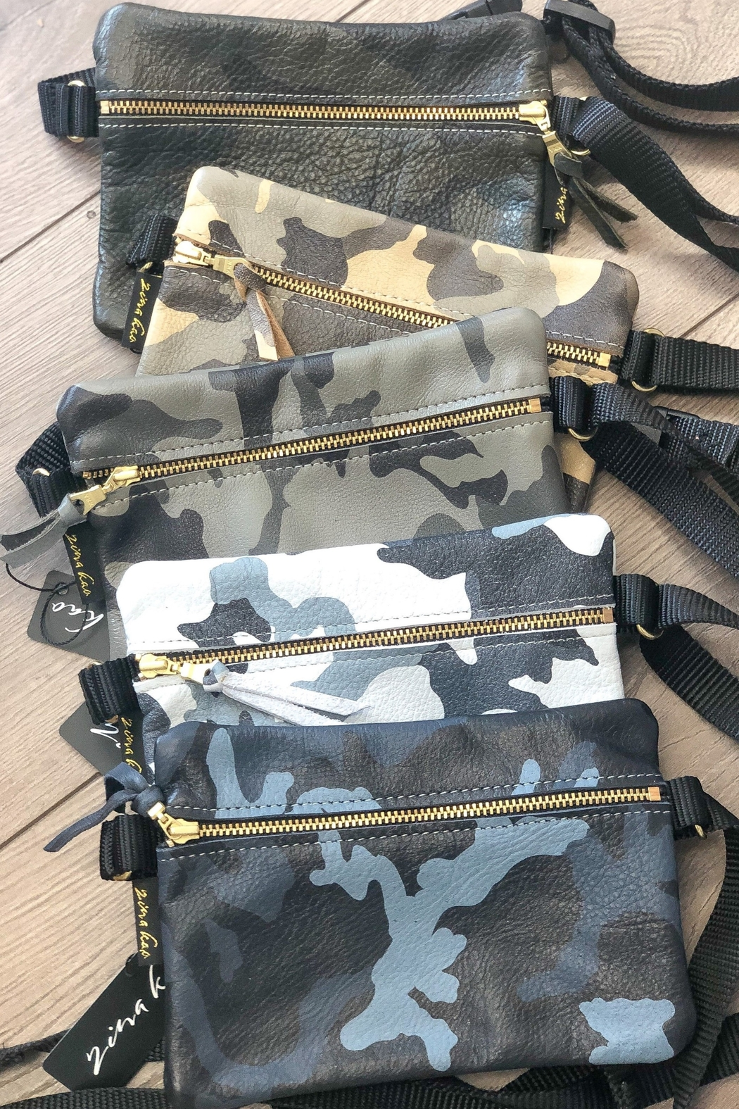 Zina Kao Camo Leather Hip Bags - Front Full Image