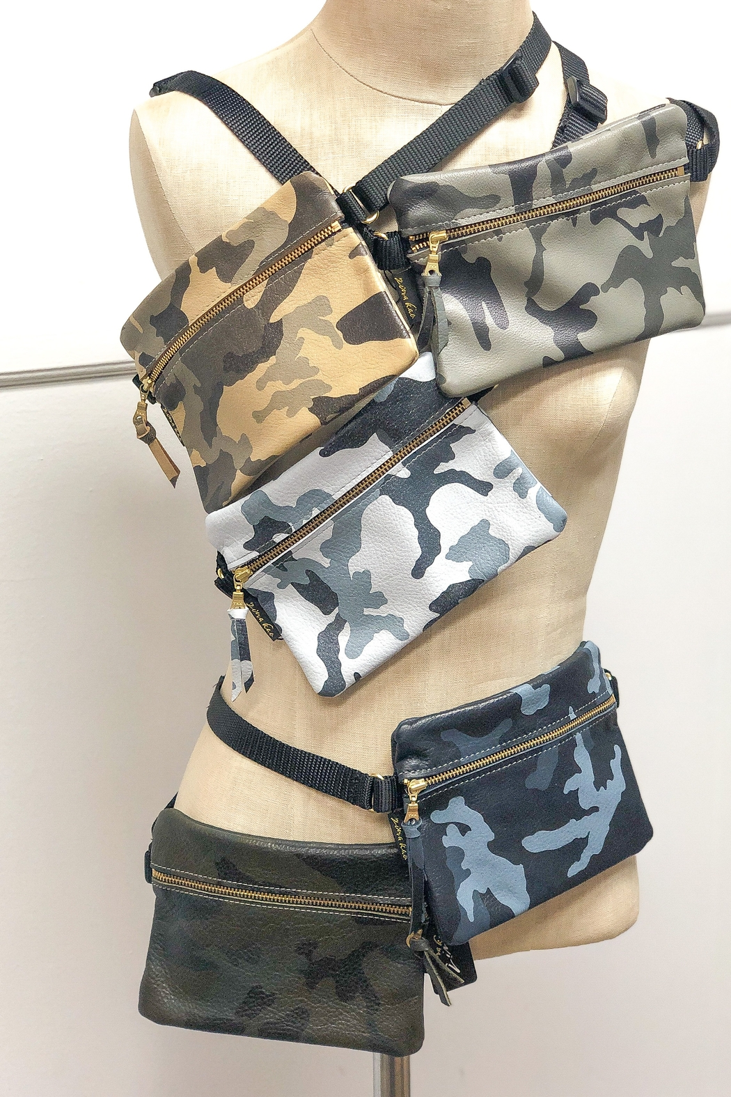 Zina Kao Camo Leather Hip Bags - Front Cropped Image