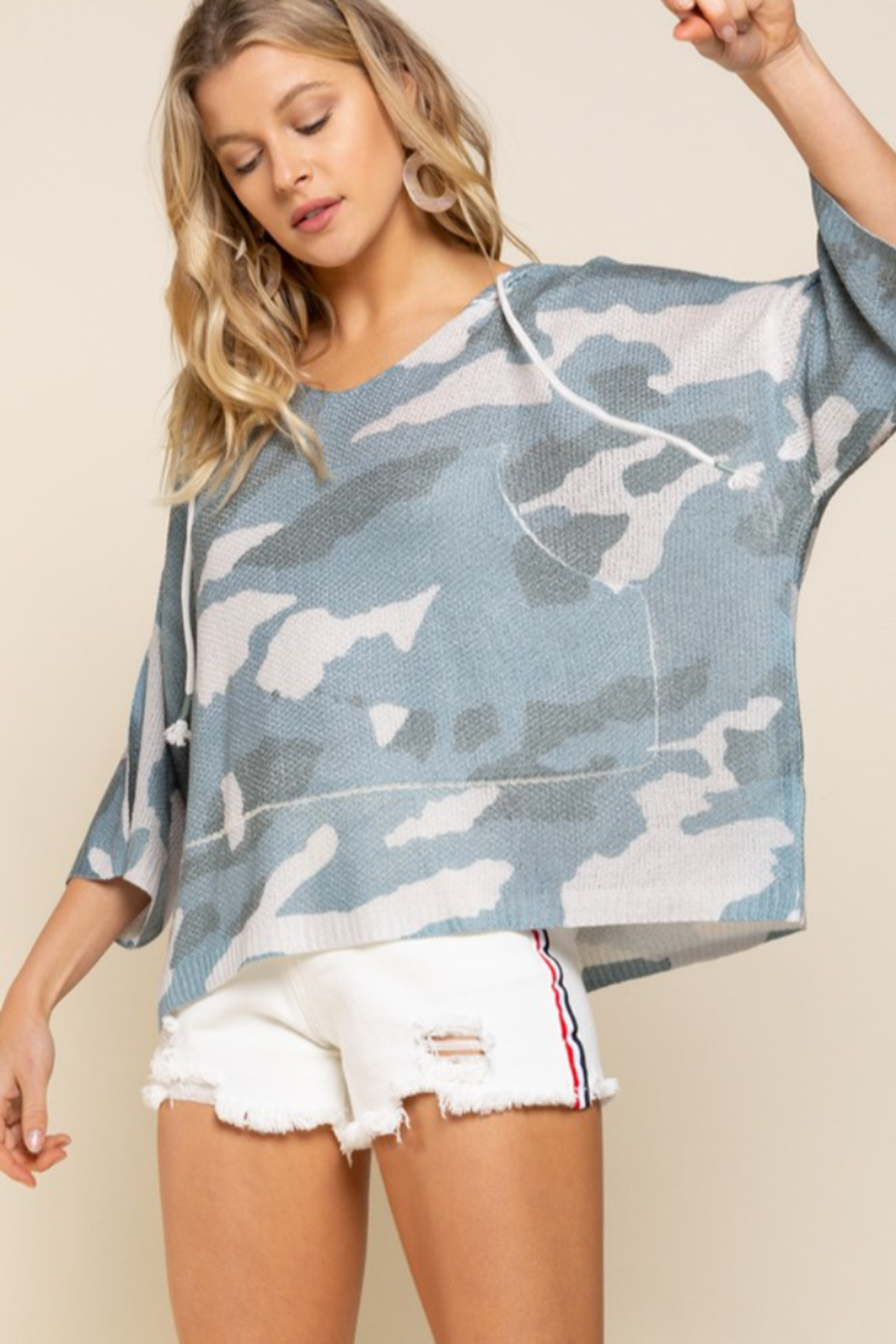 POL  Camo Lightweight Knit Top - Side Cropped Image