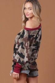 Blue Buttercup Camo Off-the-Shoulder Contrast-Trim Shirt - Front full body