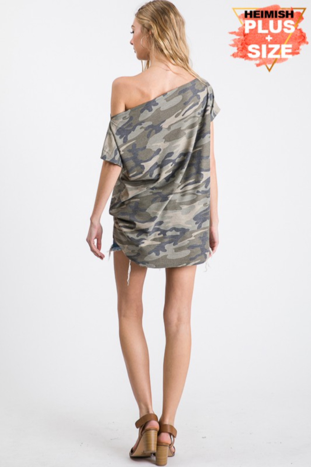 Heimish Camo One Shoulder Top - Plus Size - Side Cropped Image