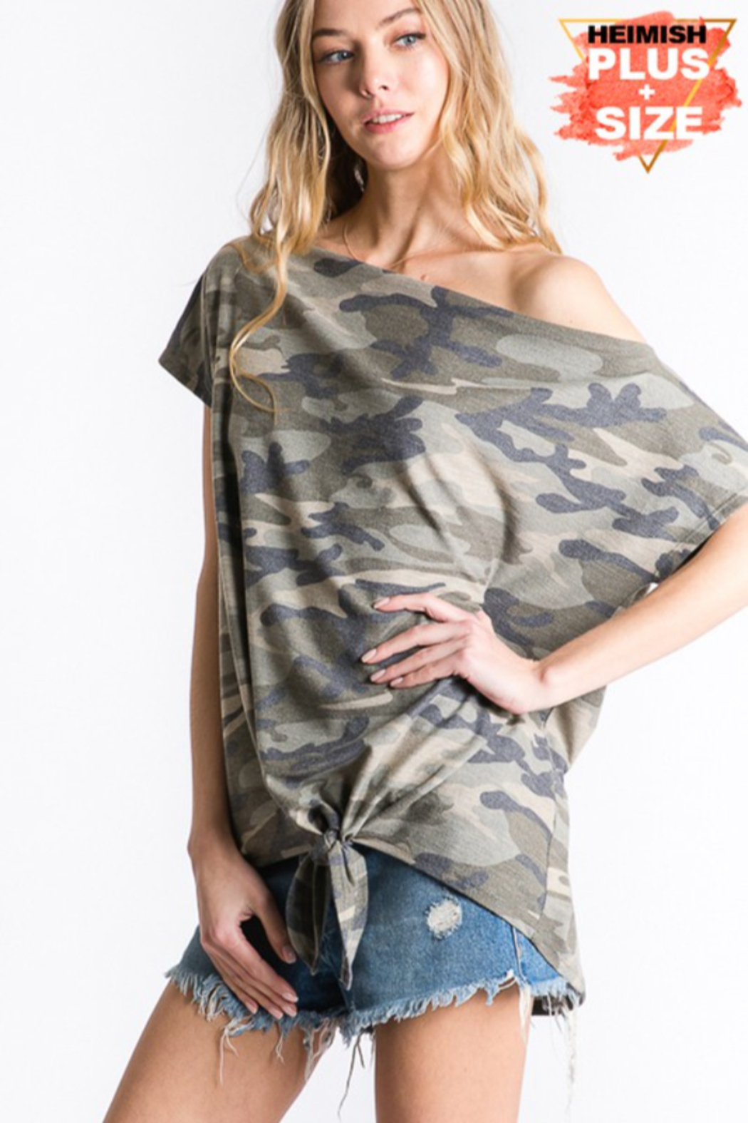 Heimish Camo One Shoulder Top - Plus Size - Front Full Image