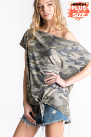 Heimish Camo One Shoulder Top - Plus Size - Front full body