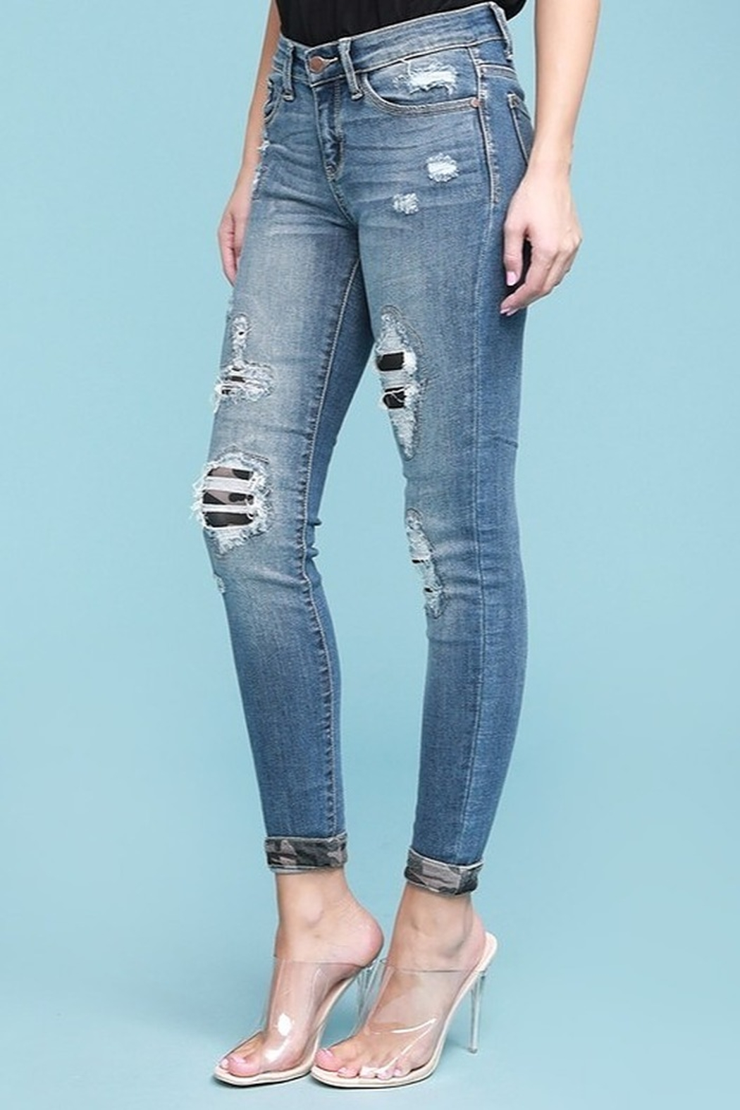 Judy Blue Camo Patch Skinny Jean - Front Full Image