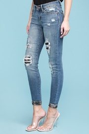 Judy Blue Camo Patch Skinny Jean - Front full body