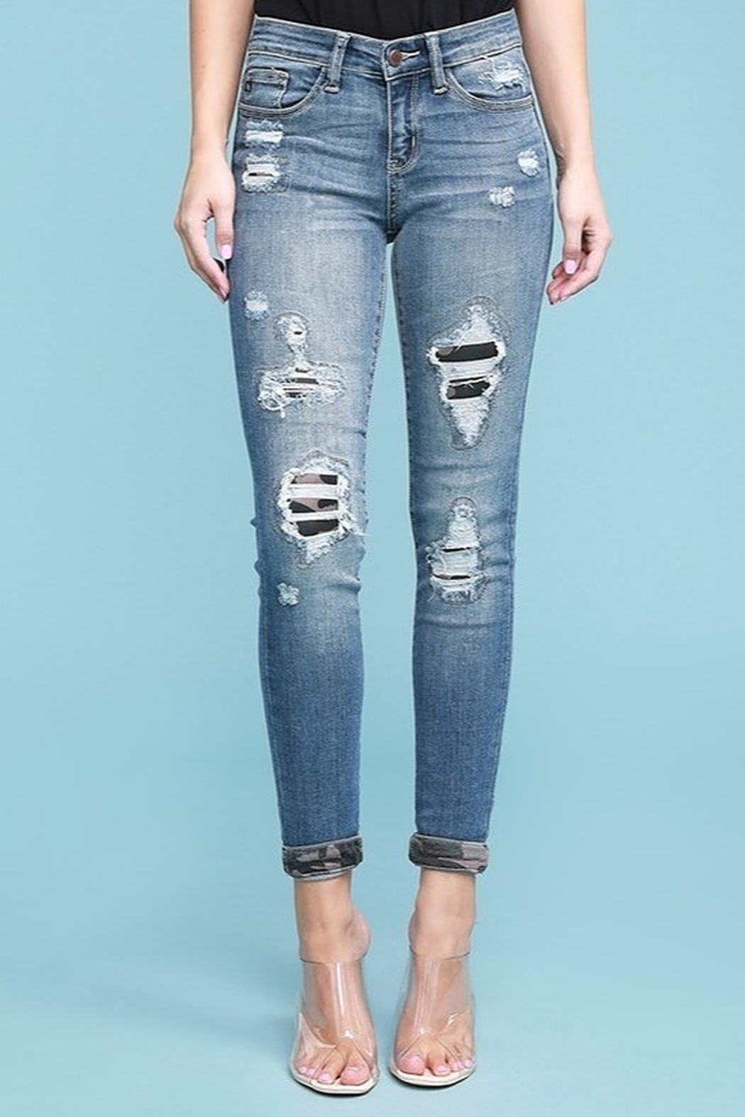 Judy Blue Camo Patch Skinny Jean - Main Image