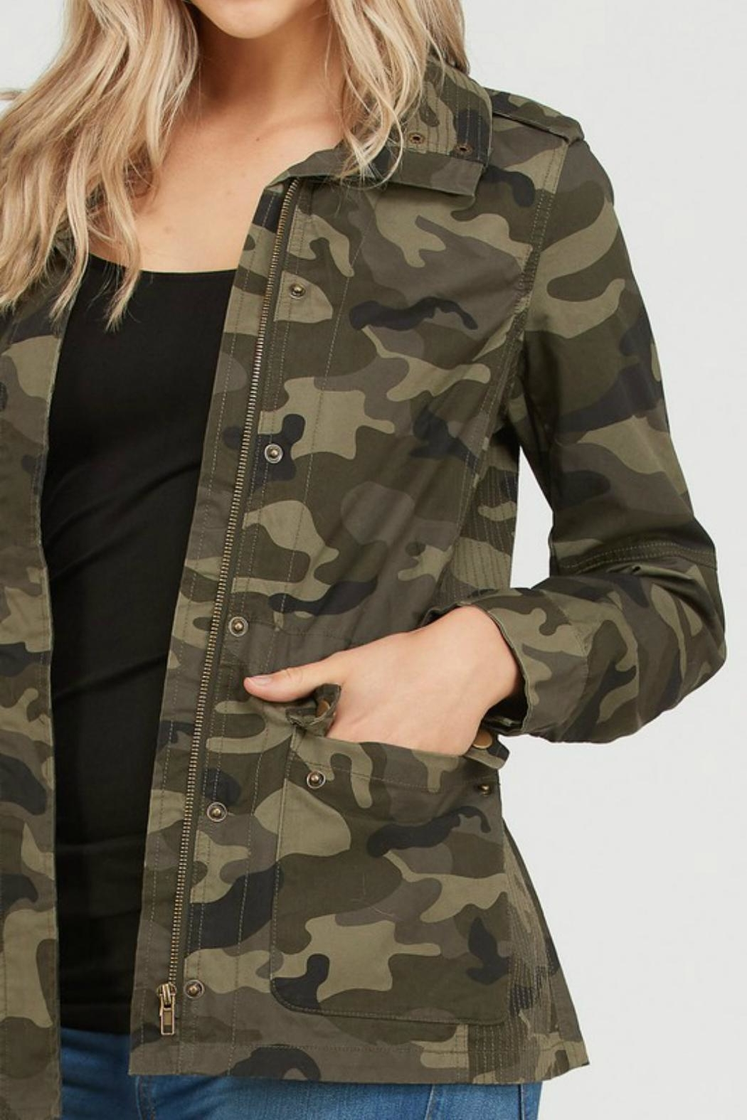 Love Tree Camo Print Anorak - Side Cropped Image