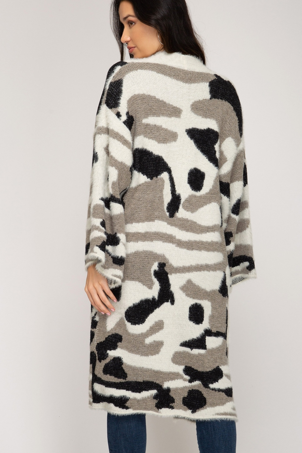She and Sky Camo Print Cardigan - Front Full Image