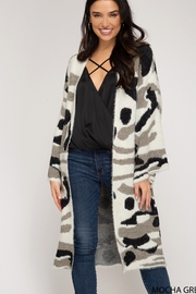 She and Sky Camo Print Cardigan - Front cropped
