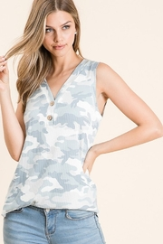 bombom Camo Print Faux Button Tank - Product Mini Image