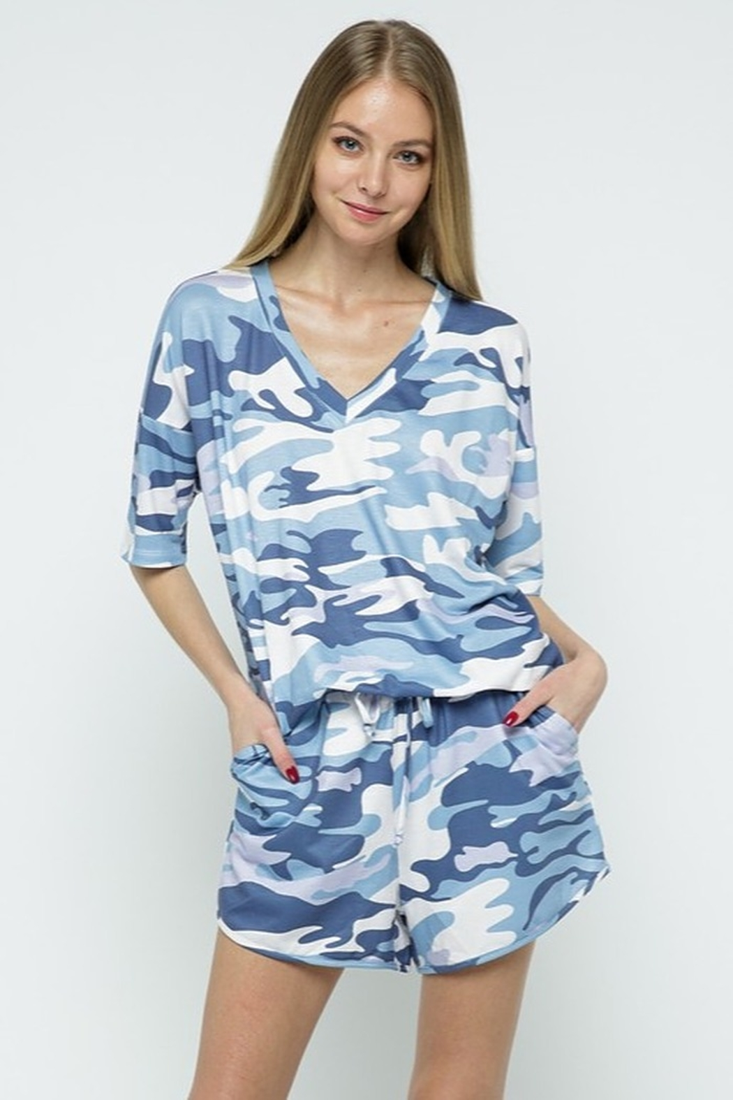 Blue B Camo Print Lounge Set - Front Cropped Image