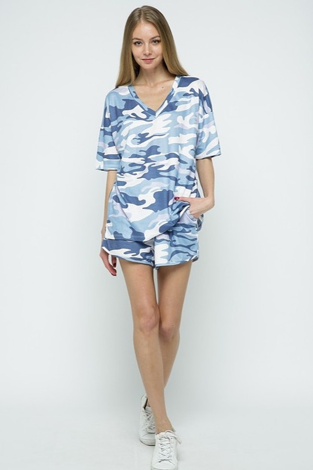 Blue B Camo Print Lounge Set - Front Full Image