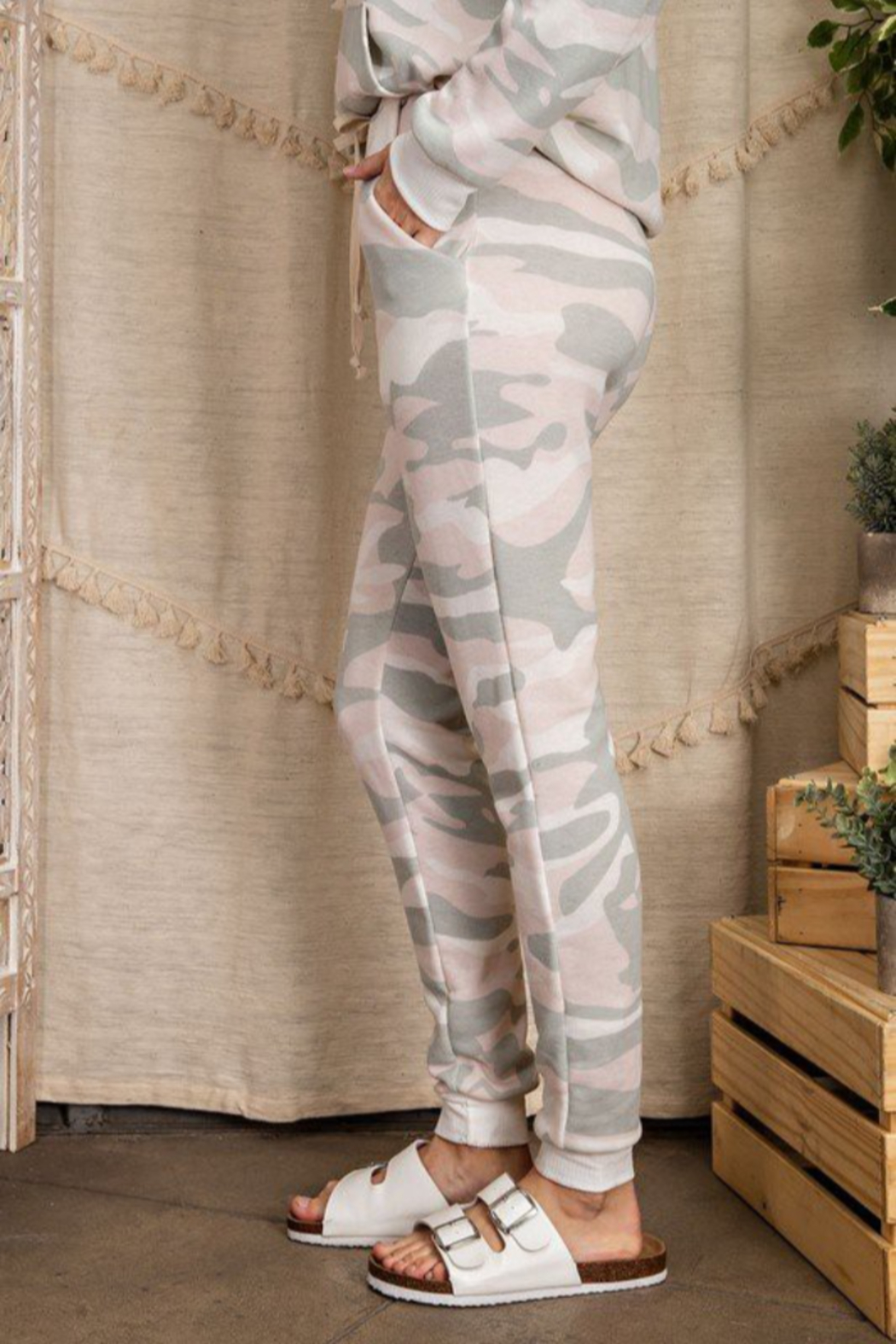 143 Story Camo Print Lounge Wear Jogger Pants - Front Full Image