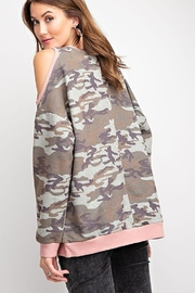 easel Camo Print Oversized Cold Shoulder Top - Front full body