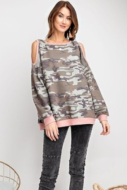 easel Camo Print Oversized Cold Shoulder Top - Front cropped