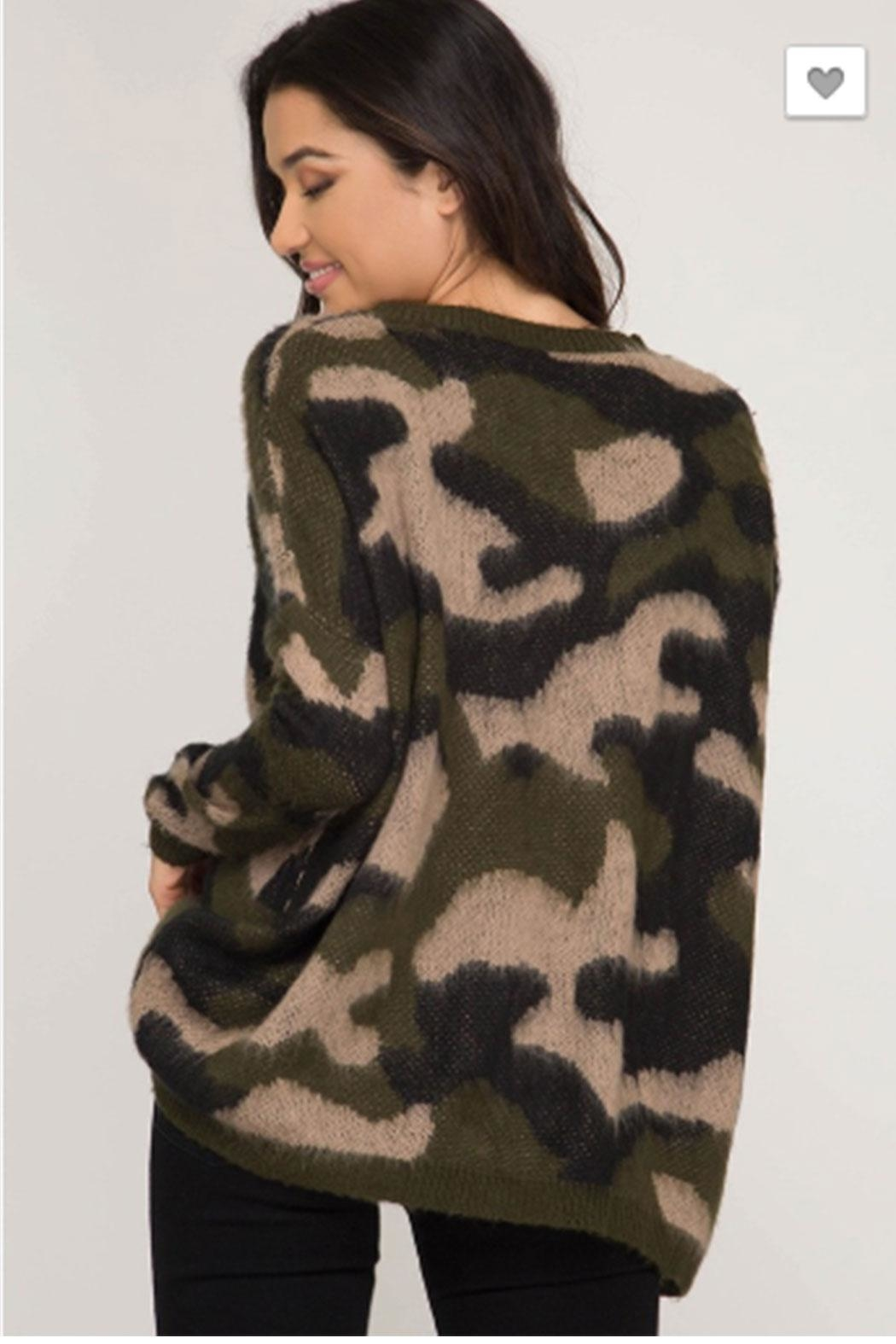 She + Sky Camo Print Sweater - Front Full Image