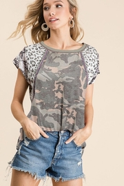 Bibi Camo Print Top with Print Block Sleeves - Product Mini Image