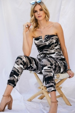 Davi & Dani Camo Print Tube  Jogger Jumpsuit - Alternate List Image